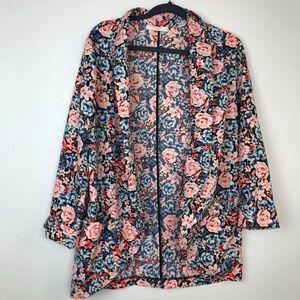 Lush floral open front blazer size M